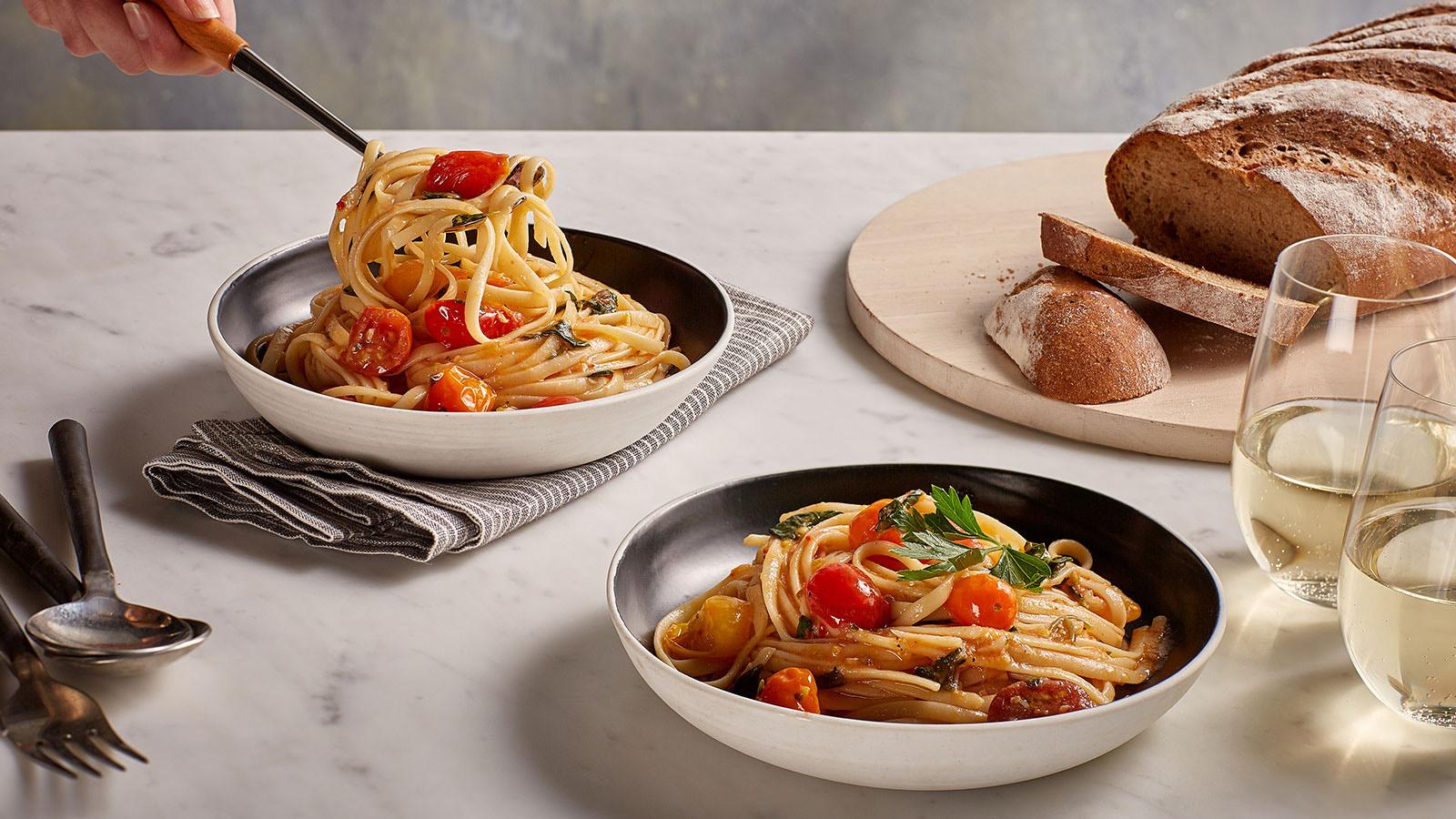 Tomato and basil linguini